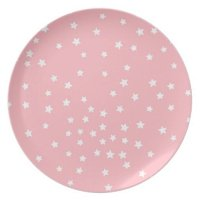 Pink and White Stars Melamine Plate   Zazzle