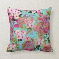 Pink & Blue Floral Pillow | Zazzle
