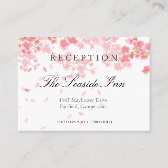 Pink Cherry Blossoms Wedding Reception Card Zazzle