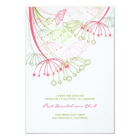 Pink Dandelions Flower Spring Wedding Reception 3.5x5 Paper Invitation Card
