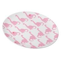 Pink Dinosaur Melamine Plate   Zazzle