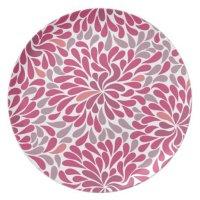 pink flowers melamine plate   Zazzle
