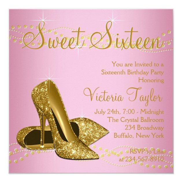 Pink Gold High Heels Sweet 16 Party Invitation Zazzlecom