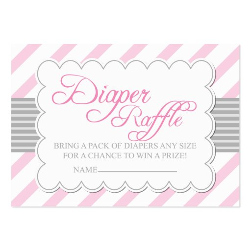Pink & Grey Diaper Raffle Ticket Large Business Card