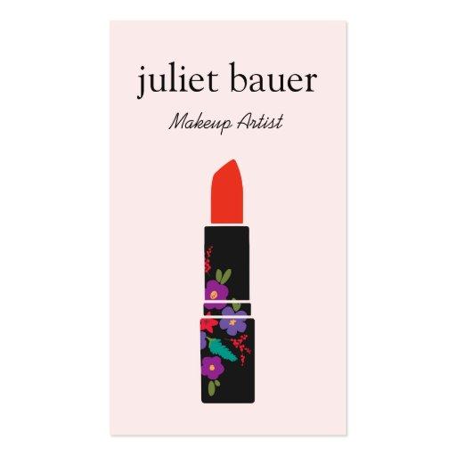 Pink Makeup Artist Floral Lipstick Logo Beauty Business Card