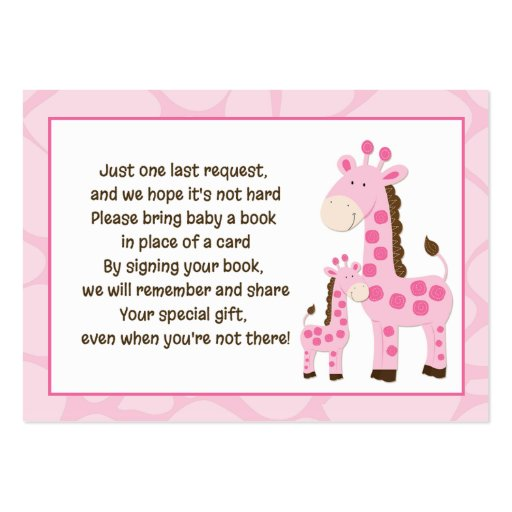 Pink Mommy Giraffe Book Request Cards Large Business Card
