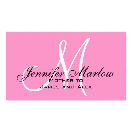 Pink Monogram Mommy Calling Card Business Card