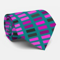 Pink, Purple and Grey Rectangles on Teal Tie | Zazzle