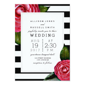 Pink Roses Floral Black   White Stripe Wedding 5x7 Paper Invitation Card