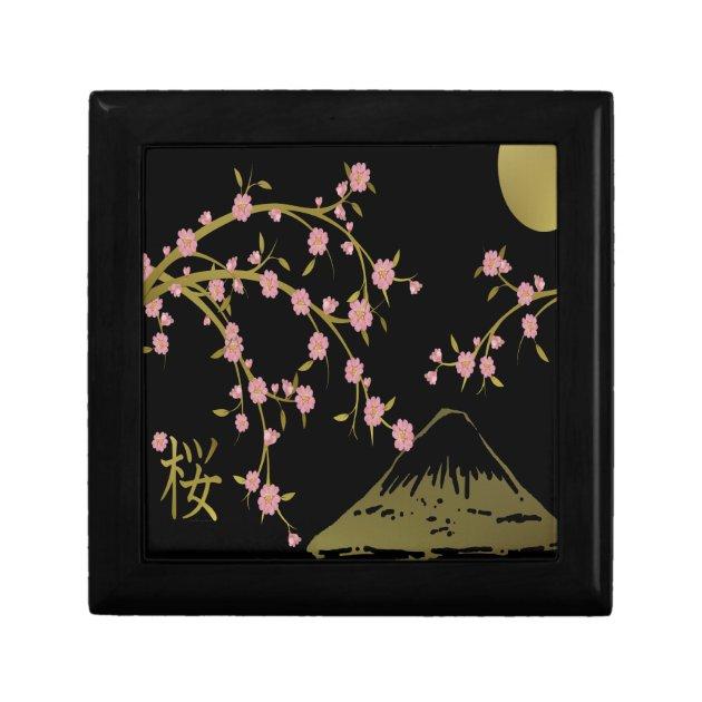 Pink Sakura Gold Black Japanese Screen Keepsake Box