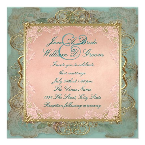 Pink Teal Blue And Gold Vintage Wedding Invitations Zazzle