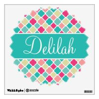 Pink Turquoise Quatrefoil Name Wall Sticker | Zazzle