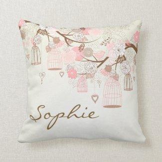 Pink Vintage Birdcages Floral Personalized Pillow
