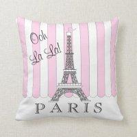 Pink | White Paris Eiffel Tower Ooh La La Throw Pillow