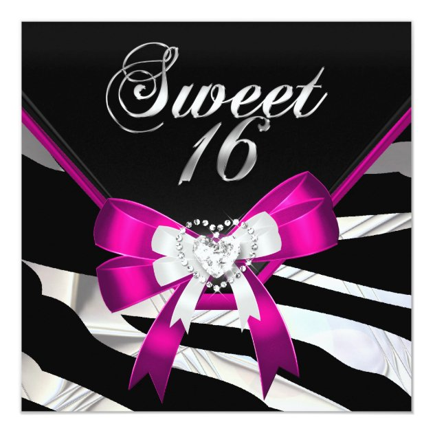 Pink Zebra Black Sweet Sixteen 16 Birthday Party