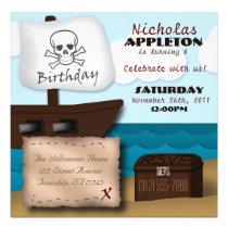 Pirate Ship Treasure Chest Birthday Invitations