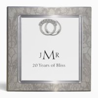 Platinum Rings 20th Wedding Anniversary Binder | Zazzle