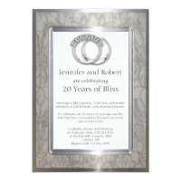 Platinum Rings 20th Wedding Anniversary Card | Zazzle