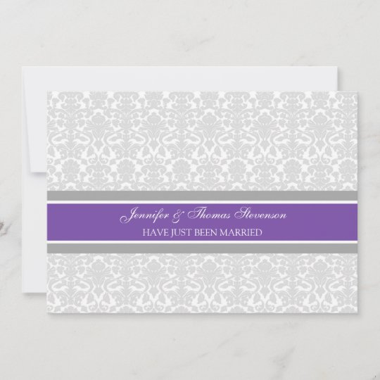 Plum Grey Damask Just Married Announcement Cards Zazzle