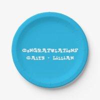 Pool Party Blue Engagement Party Paper Plate | Zazzle