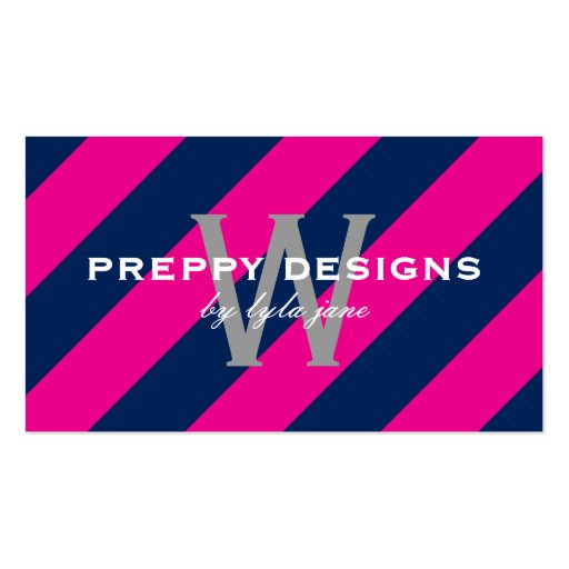 Preppy Hot Pink & Navy Blue Monogram Surprise Business Card