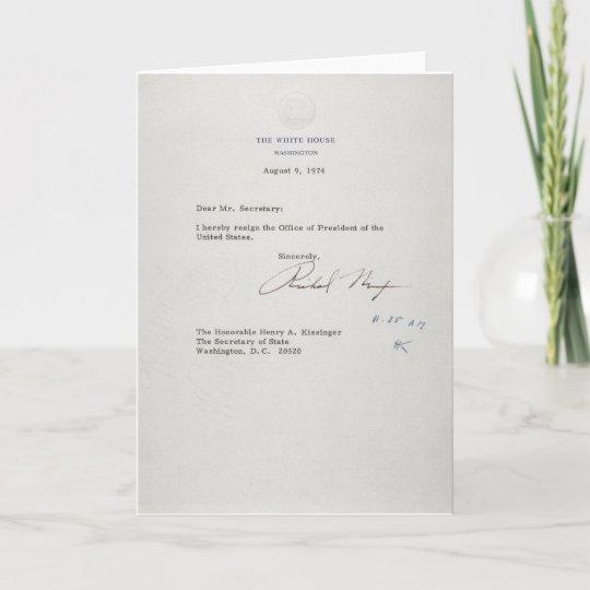President Richard M Nixon Resignation Letter Card Zazzle