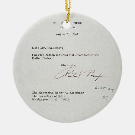 President Richard M Nixon Resignation Letter Ceramic Ornament