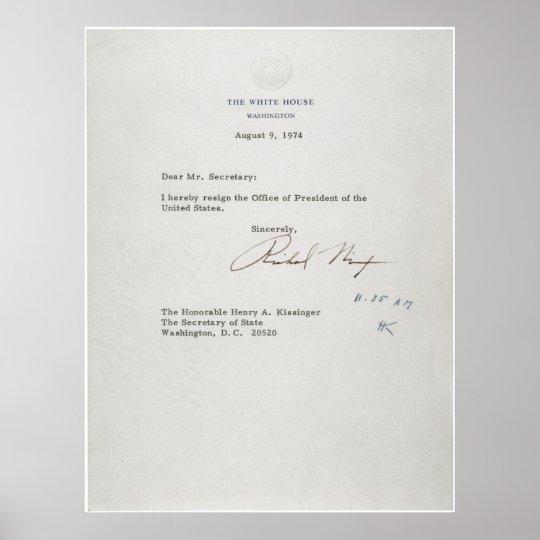 President Richard M Nixon Resignation Letter Poster Zazzle - nixon resignation letter