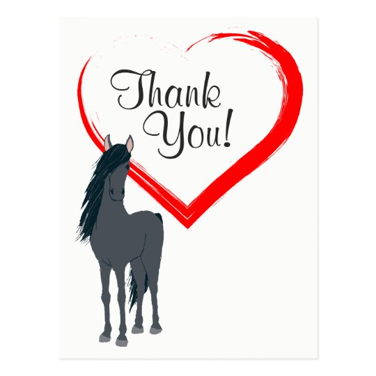 Pretty Black Horse and Red Heart Thank You Postcard Zazzle
