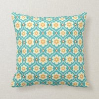 Pretty Teal and Yellow Daisy Pattern Throw Pillow | Zazzle