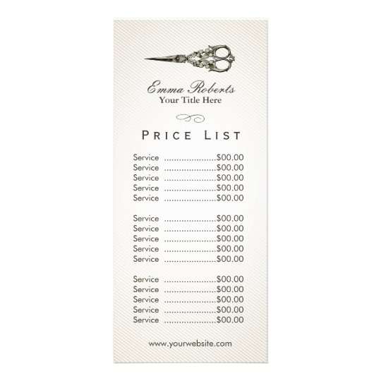 Price List Antique Scissor Vintage Hair Salon Rack Card Zazzle
