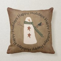 Primitive Country Snowman Pillow
