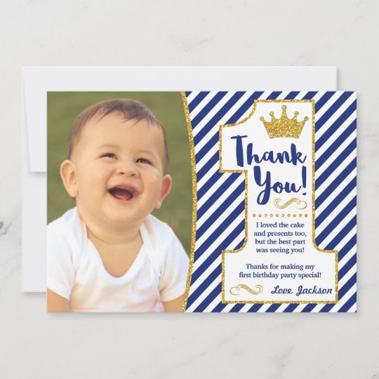 Prince First Birthday Thank You Card Zazzle