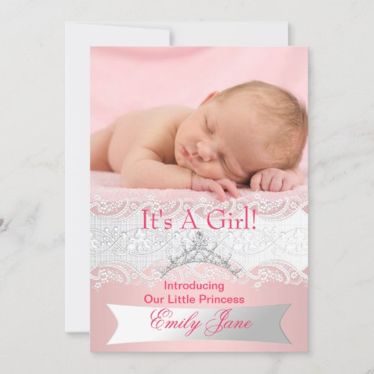 Princess Pink New Baby Girl Announcement Photo Zazzle