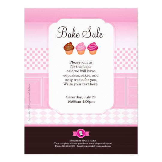 Professional Bake Sale Flyer personalized Zazzle