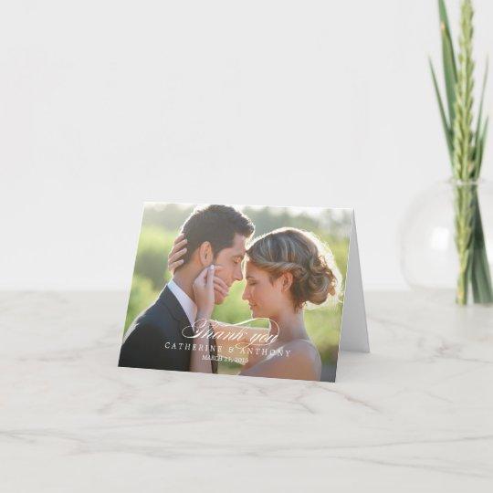 Pure Elegance Wedding Thank You Card - White Zazzle