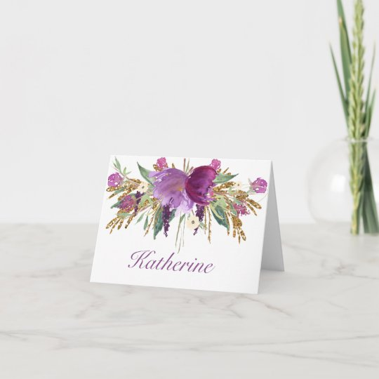 Purple and Gold Watercolor Flowers Notecards Zazzle