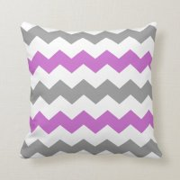 Purple and Grey Chevron Throw Pillow | Zazzle