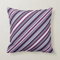 Purple and Grey Stripes Pillows | Zazzle