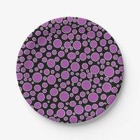 Purple and White Polka Dots Paper Plates | Zazzle