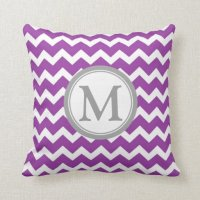 Purple Grey Chevron Monogram Decorative Pillow | Zazzle