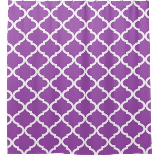 Purple white quatrefoil lattice shower curtain zazzle