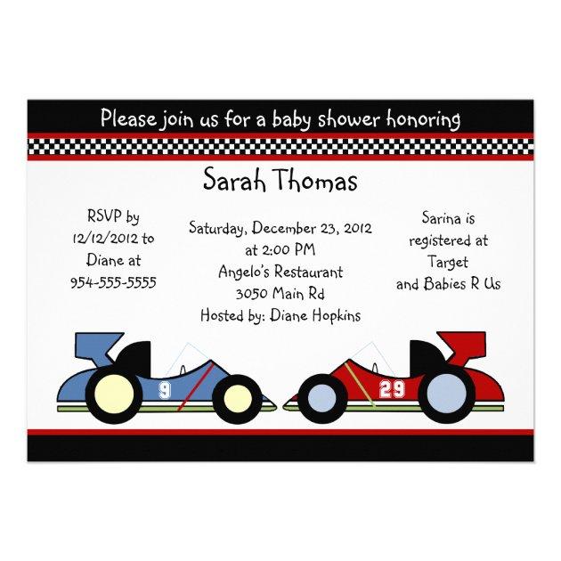 Race Cars Baby Shower Birthdayinvitations