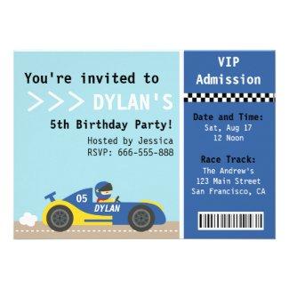 Racing Car, Birthday Party, Boys Admission Ticket Custom Invite