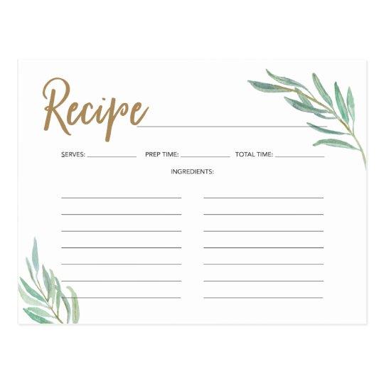 Recipe Cards -Rustic Greenery Bridal Shower Recipe Zazzle