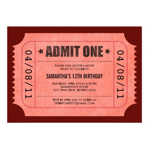Personalized Party ticket Invitations CustomInvitations4U - party ticket invitations