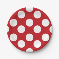 Red and White Polka Dot Paper Plates | Zazzle.com