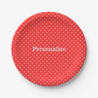 Red White Dots Plates | Zazzle