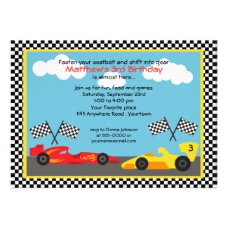Red and Yellow Race Car Birthday Party Announcement
