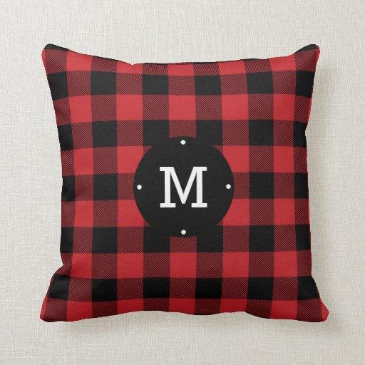 Red Buffalo Check Plaid Monogram Throw Pillow